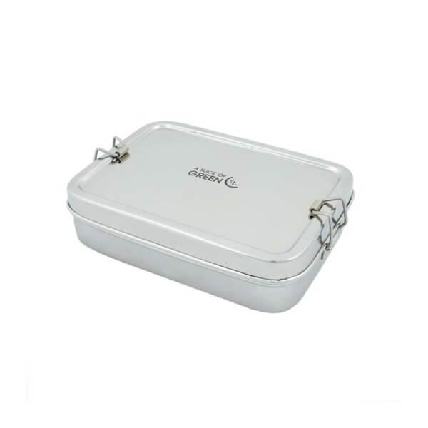 Lunchbox aus Edelstahl mit Innenfaechern