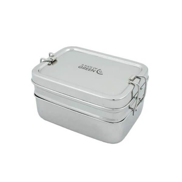 Lunchbox aus Edelstahl mit Clipverschluss zweiteilig