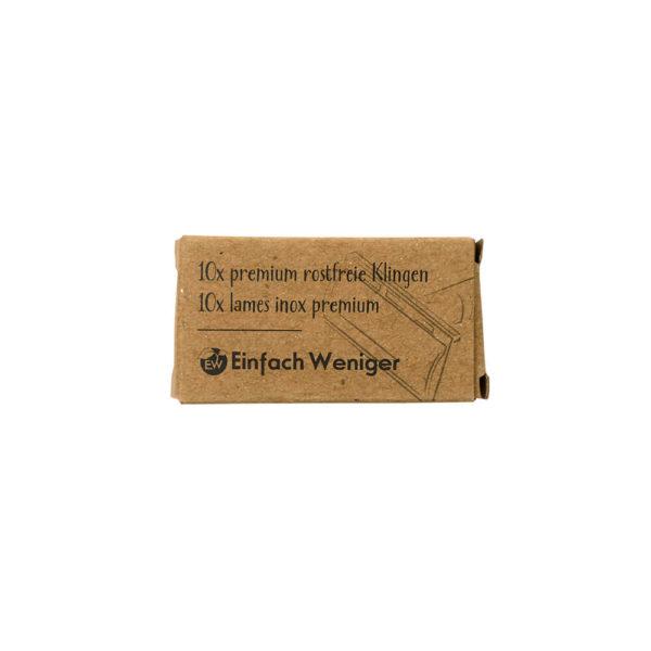 produktfoto der Verpackung von Rasierklingen für den Rasierhobel