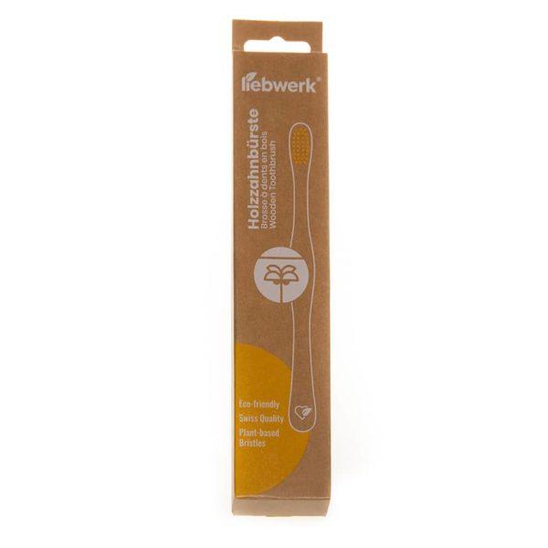 Produktfoto der Verpackung einer Holzzahnbürste