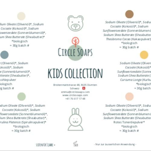 Grafik der Inhaltsstoffe in der Kids Collection von Circle Soaps