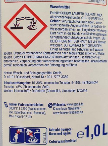 Bild eines Warnhinweises auf Waschmitteln