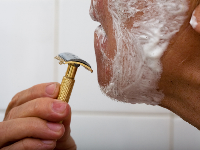 Rasierhobel Winkel zur Haut